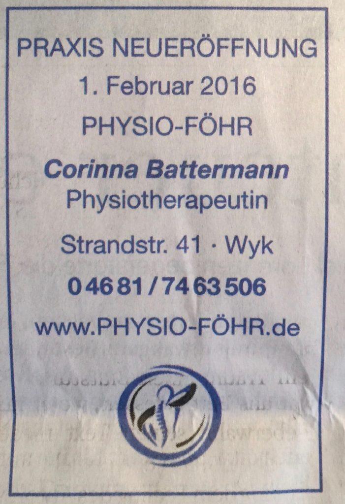 Anzeige Eröffnung Physio-Föhr